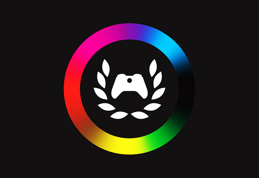 Xbox Ambassadors logo in rainbow colors on a black background.