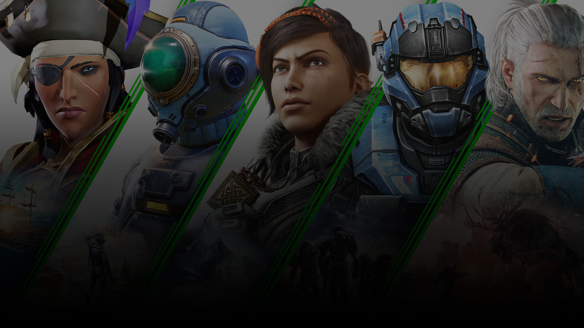 A collage of Xbox Game Pass Games including Halo, Gears 5, Sea of thieves and more.