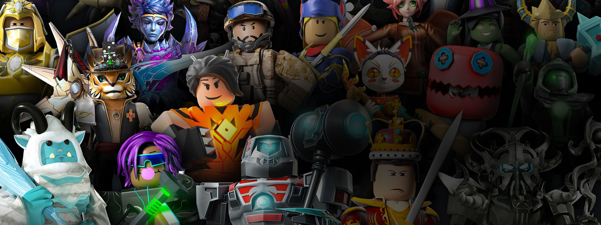 Characters from Roblox lined up posing