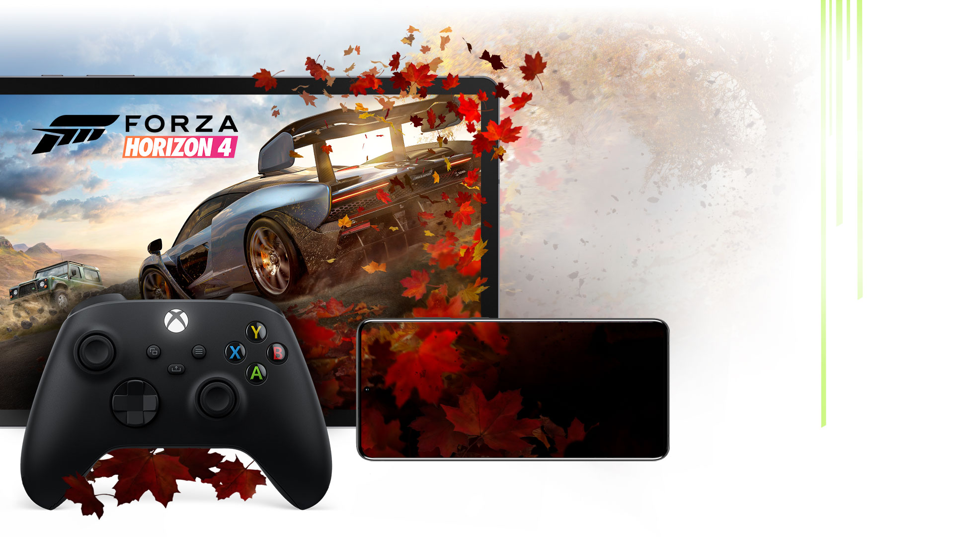 An Xbox Wireless Controller with a mobile phone and tablet showing Forza Horizon 4