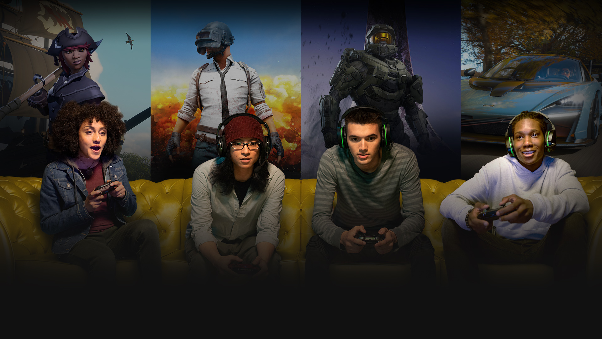 Four people holding Xbox One controllers and playing multiplayer games together, with a background collage of characters from Sea of Thieves, PLAYERUNKNOWN'S BATTLEGROUNDS, Halo, and Forza