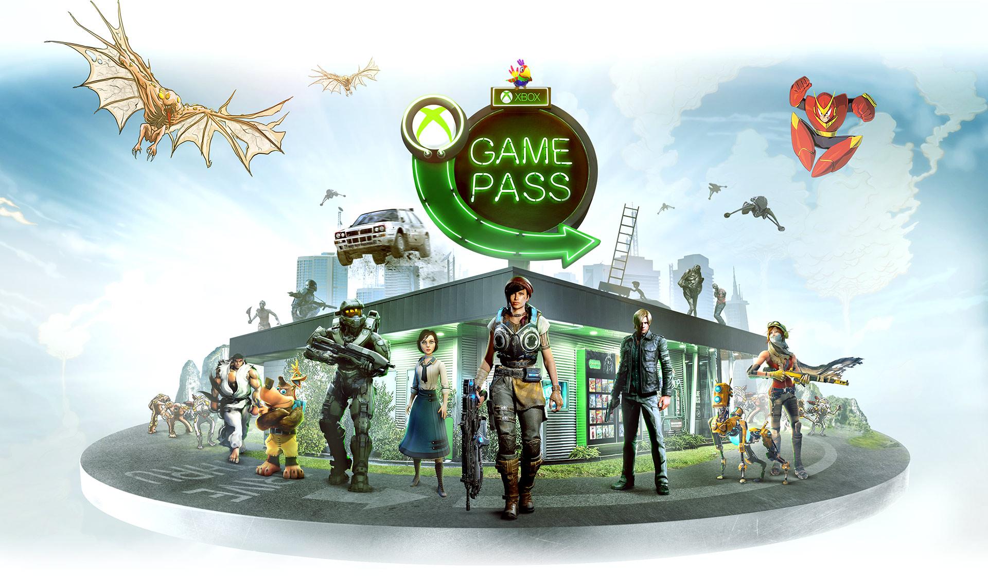 Grupa postaci z gier na konsolę Xbox otaczająca sklep z grami