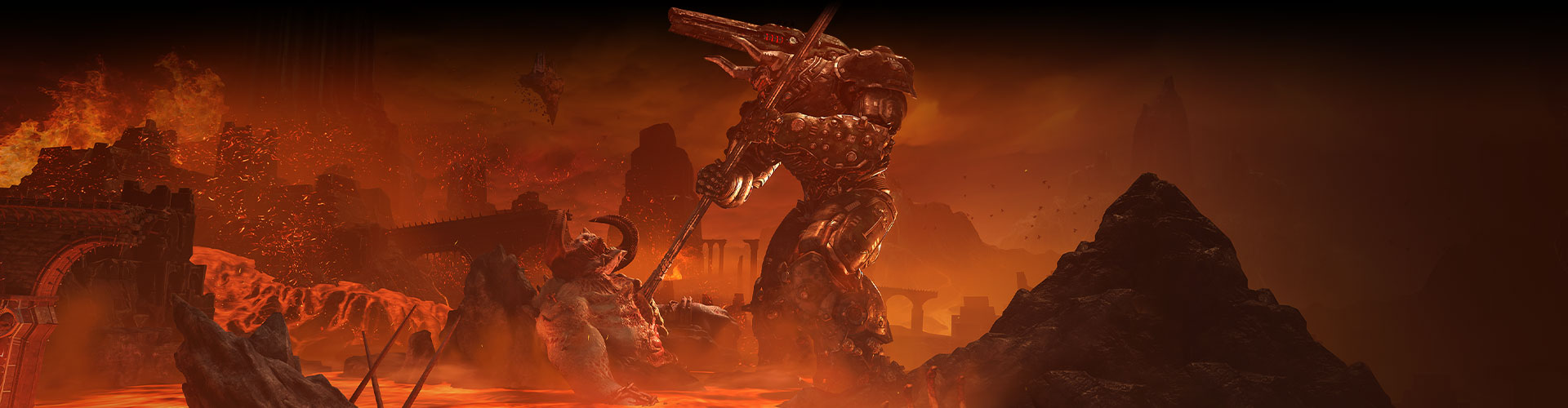 Un submundo de monstruos y ríos de lava roja en DOOM Eternal.