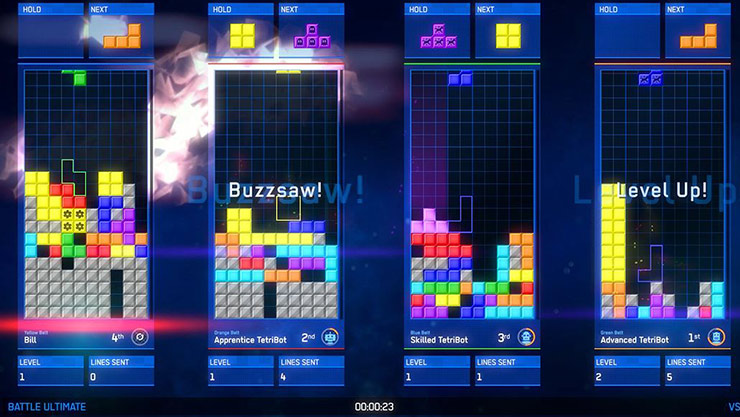Captura de tela da partida do Tetris