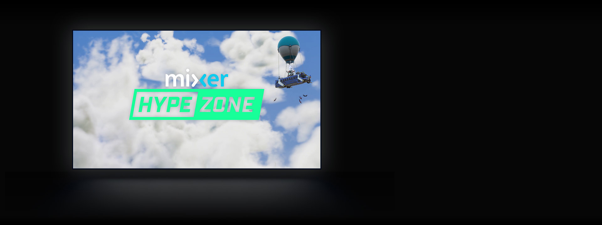 Mixer HypeZone, Fortnite characters jump from a battle bus in the sky