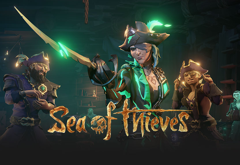 Pirate legends from Sea of Thieves, with game logo, all greyed out.