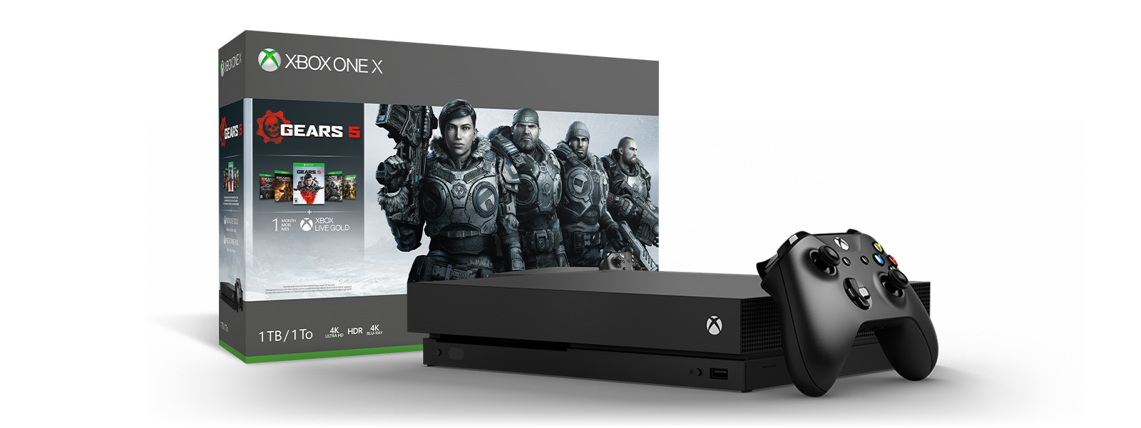 Xbox One X Gears 5 Bundle product box and Xbox One X