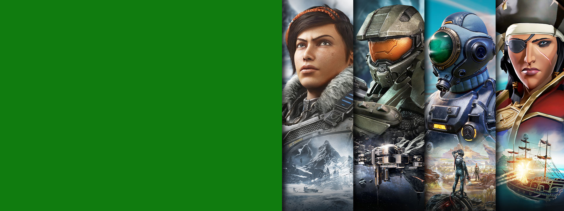 Xbox Game Pass game characters from Gears 5, Halo, The Outer Worlds, and Sea of Thieves.