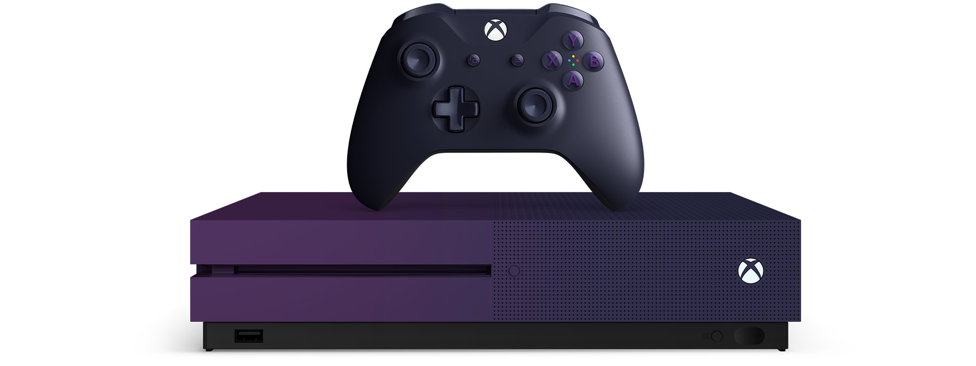 Gradient purple Xbox One S console with an Xbox wireless controller