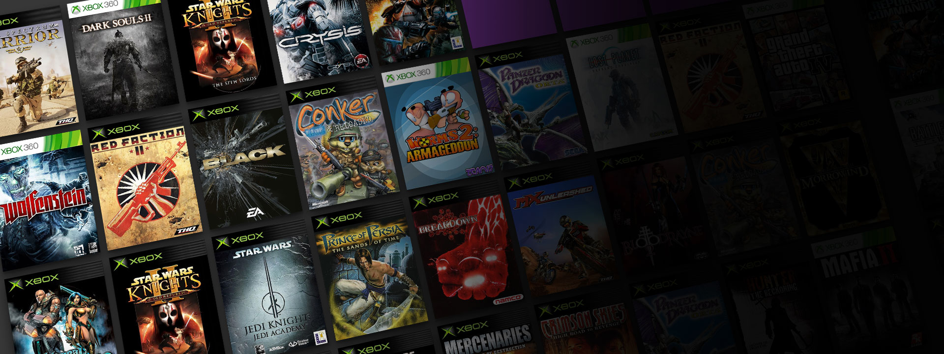 An collection of Xbox and Xbox 360 box shot