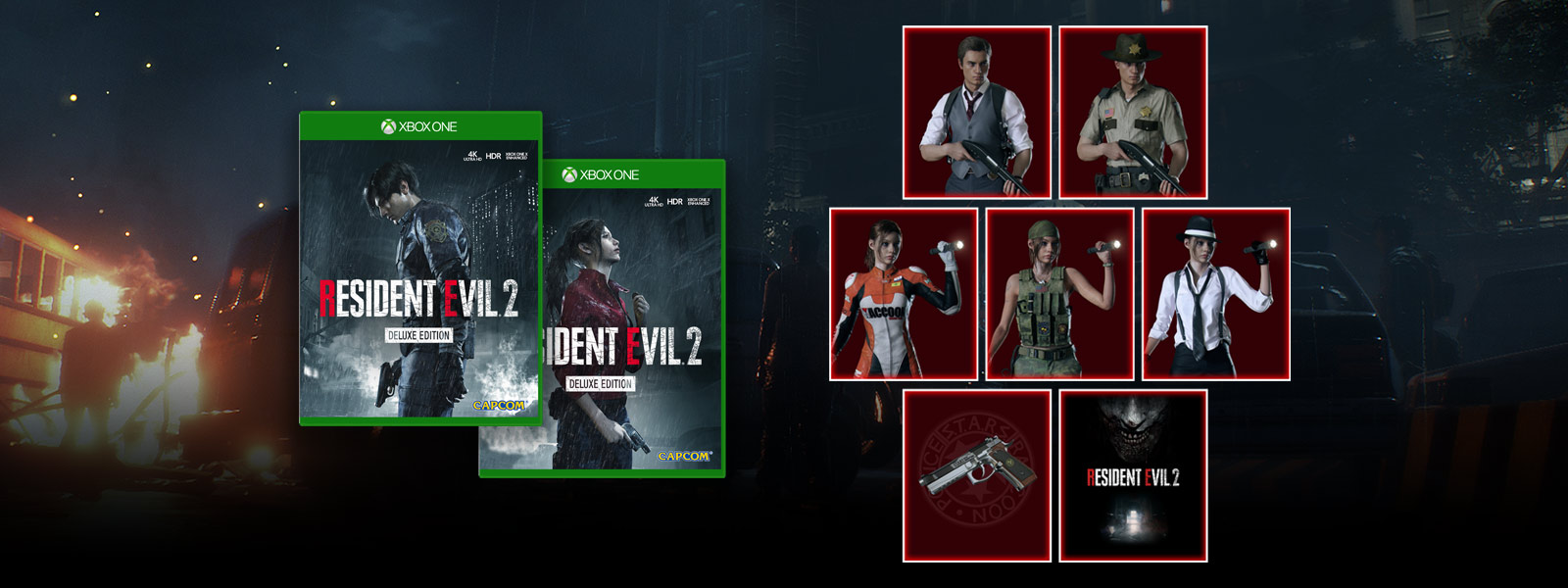 Resident Evil 2 Deluxe Edition Leon and Claire cover art next to various Deluxe Edition costumes