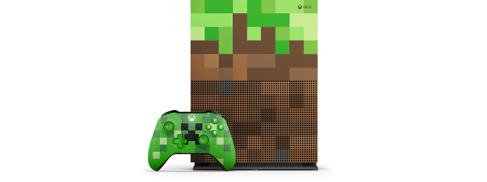 Xbox One S Minecraft Limited Edition Bundle top view