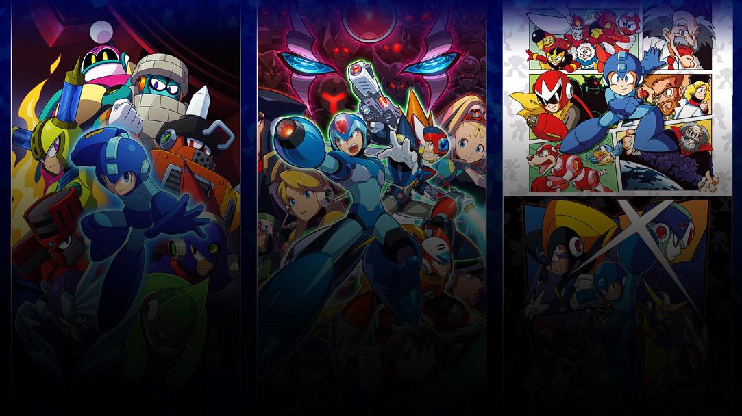 Collage de imágenes de la caja de varios juegos de Mega Man