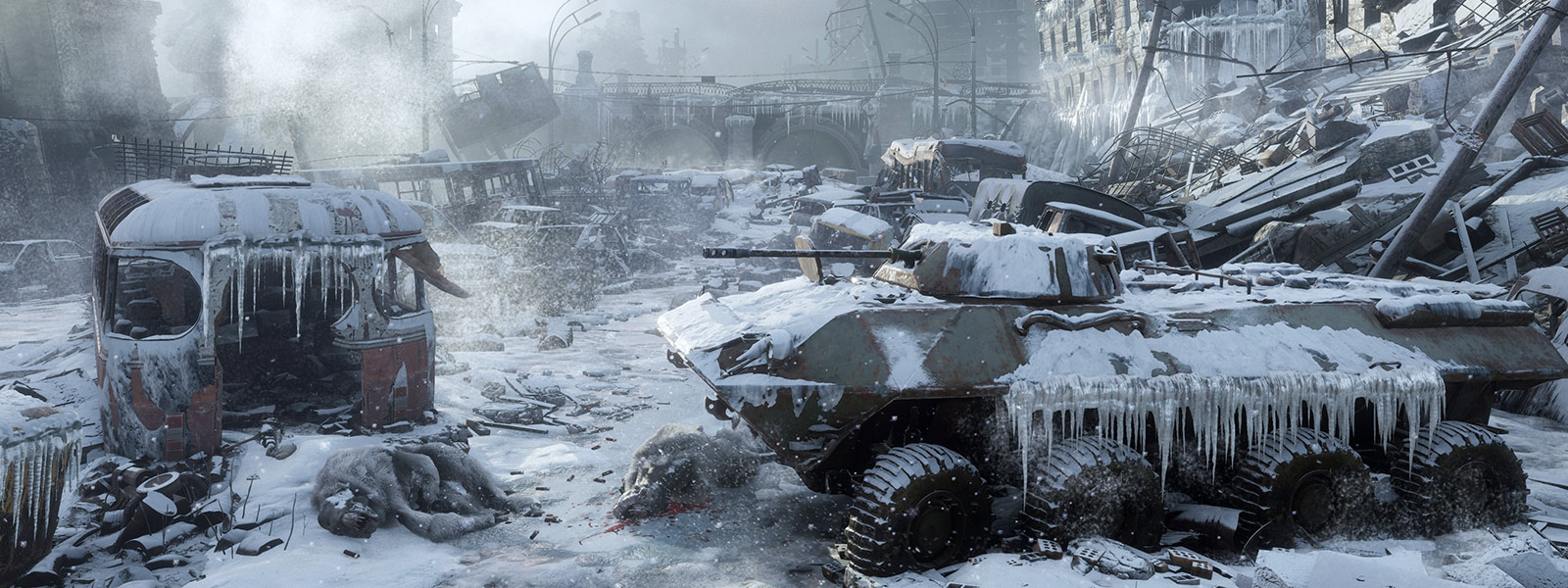 Frozen tank in decimated city