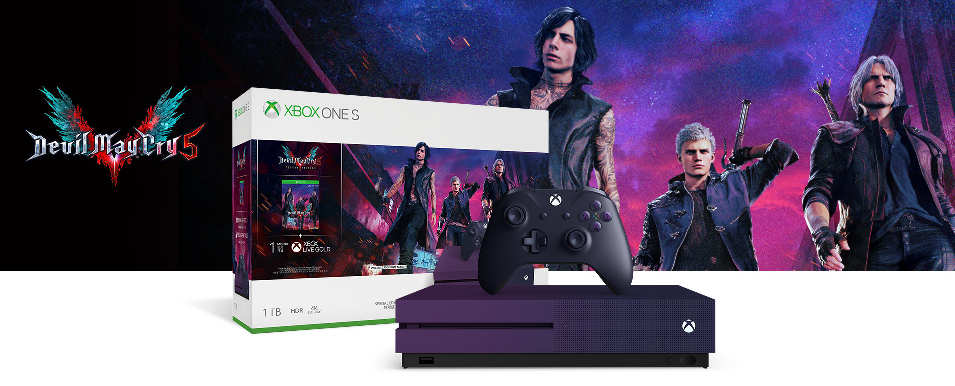 Xbox One S console in front of a hardware bundle box featuring Devil May Cry 5 art
