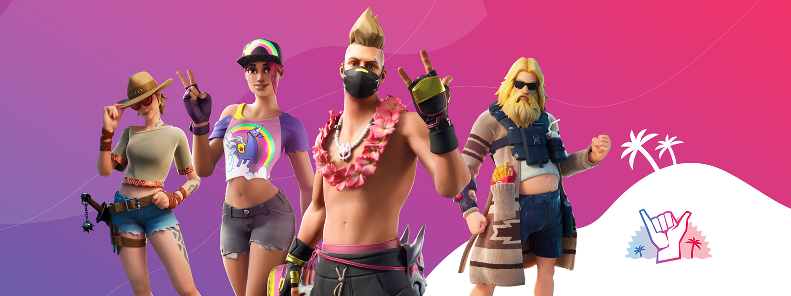 Fortnite characters line up in summer-themed skins.