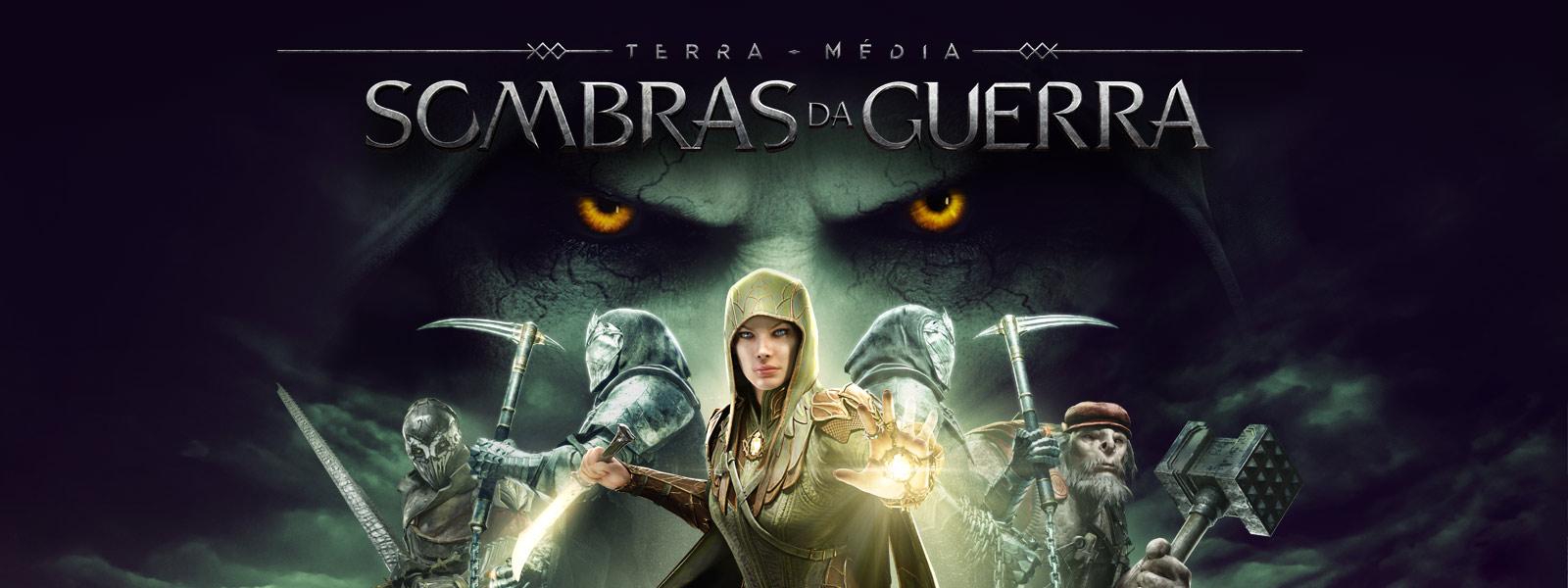 Imagem da caixa do Terra-média: Sombras da Guerra, Eltariel enfrenta 4 personagens com grandes olhos ameaçadores