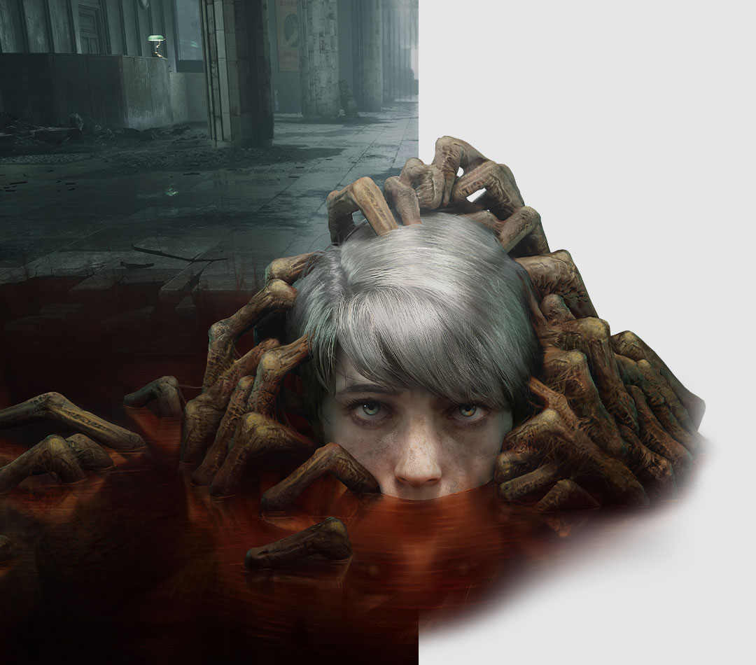 The Medium, A child's head rises from a puddle filled with undead hands