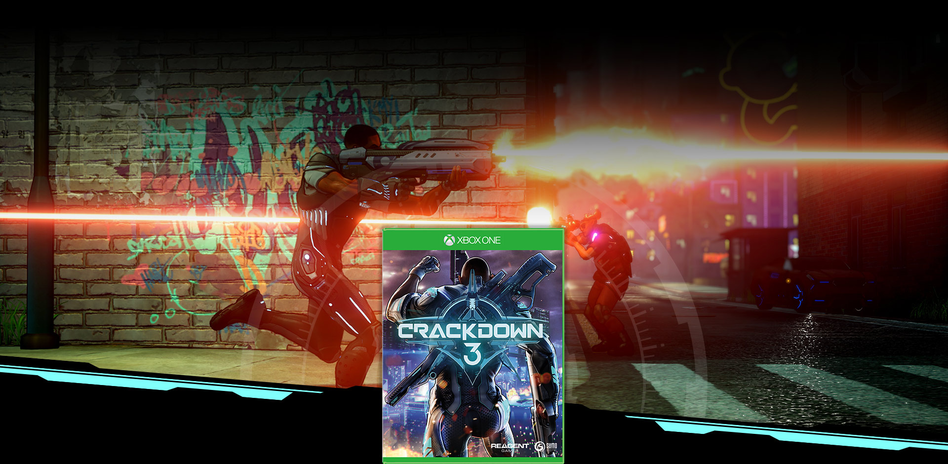 Crackdown 3 Boxshot, over background image of agent firing weapon next to a graffiti painted brick wall