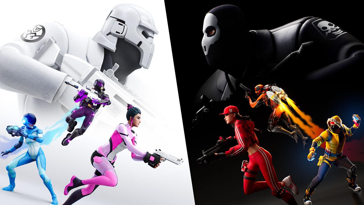 Duas equipes se enfrentam em batalha, uma equipe branca e uma equipe preta.
