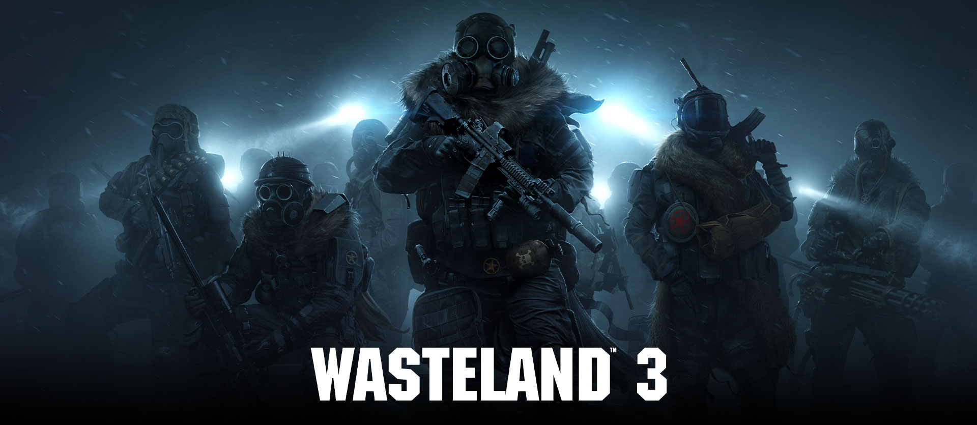 Wasteland 3, heavily armed characters in a snowstorm at night wearing gas masks