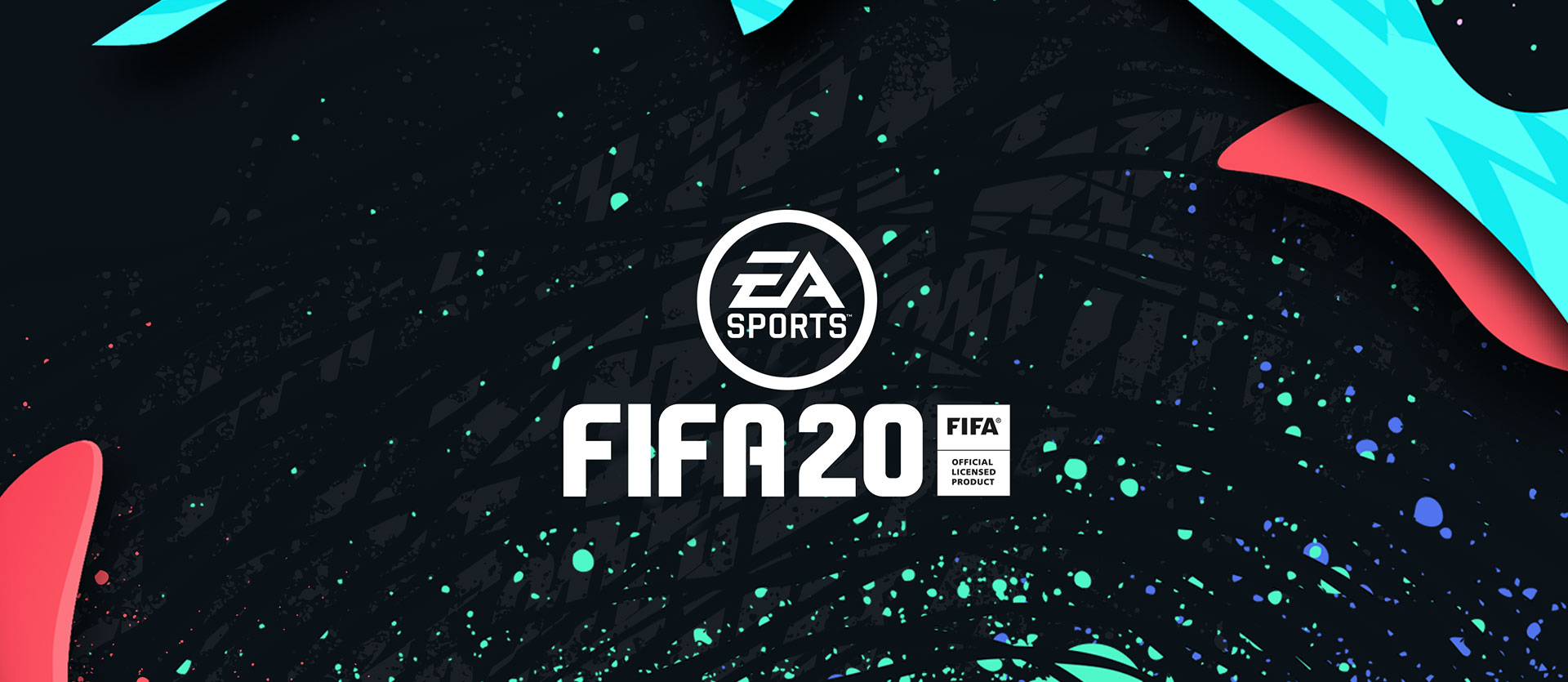 EA Sports Logo, FIFA 20, FIFA Official Licensed Product, bunten Linien und Splatter