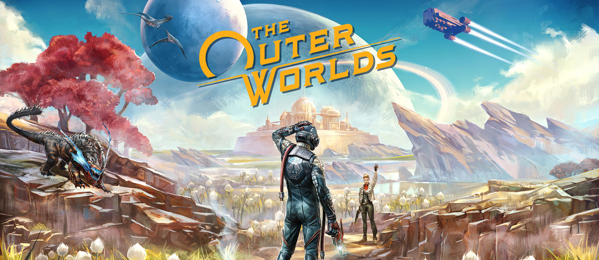 The Outer Worlds, a woman greets a confused character on an alien planet