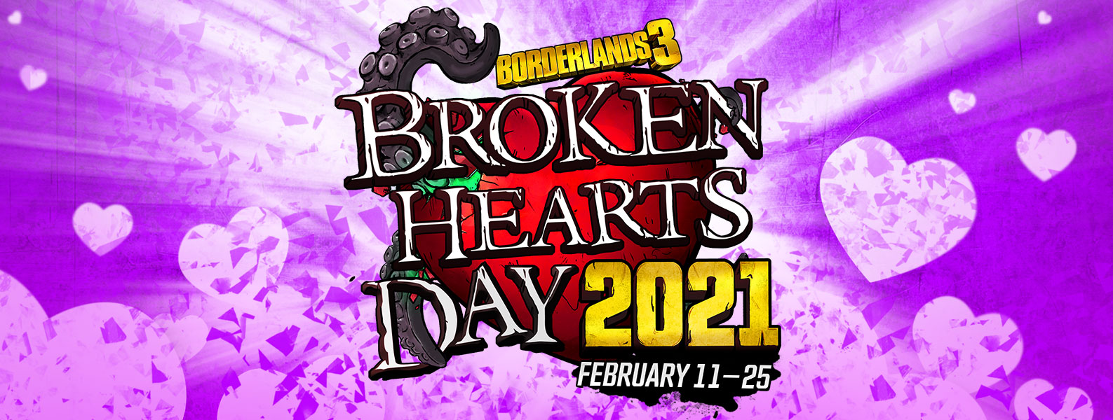 Borderlands 3, Broken Hearts Day 2021, February 11th through February 25th, A red heart with tentacles against an exploding purple background.