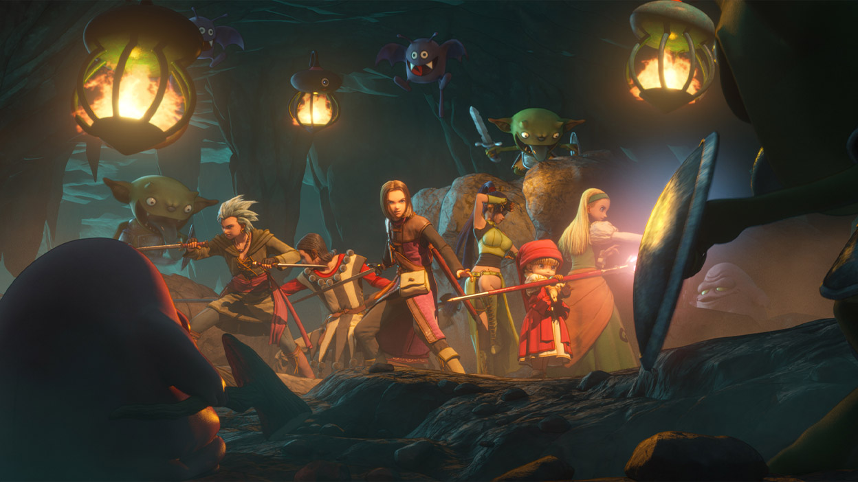 The party members stand ready for battle in a cave while surrounded by monsters