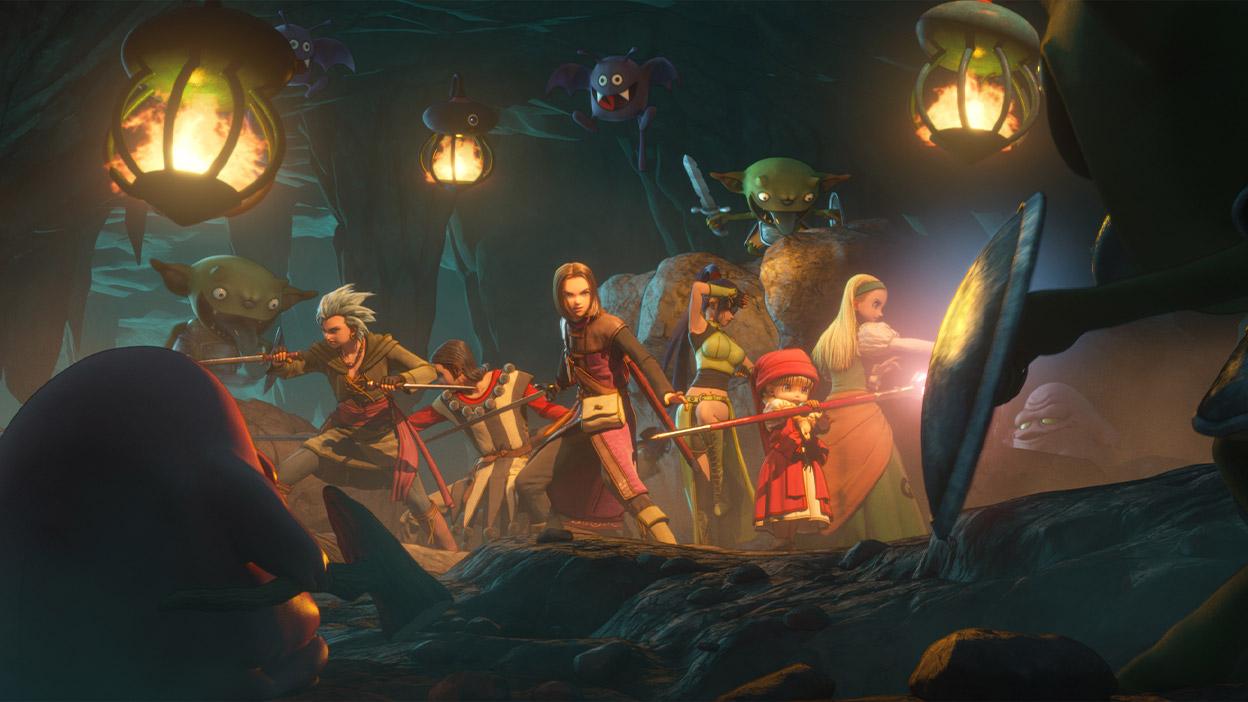 Les membres du groupe se tiennent prêts pour la bataille dans une grotte entourée de monstres