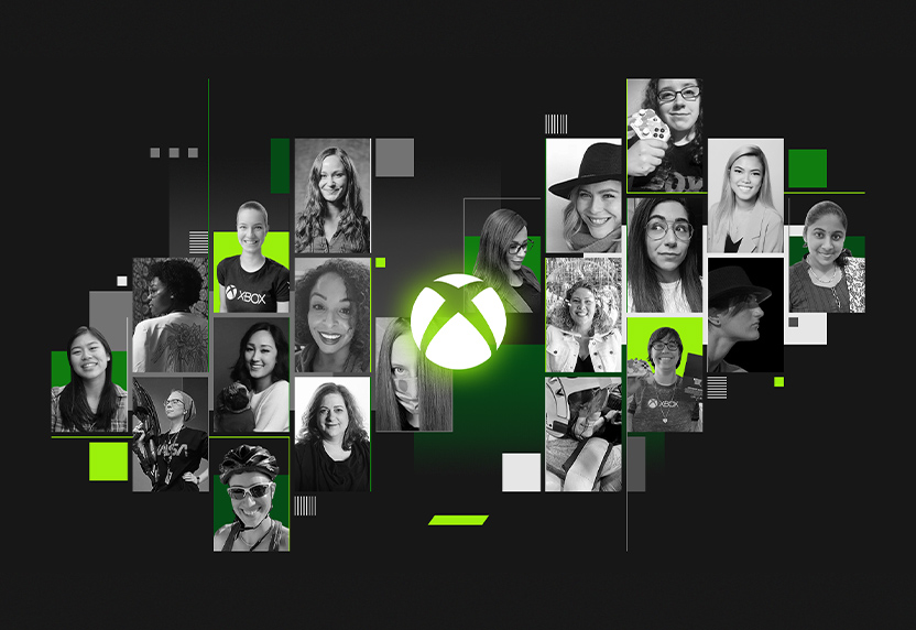 A collage of photographs of women who work at Xbox surrounds the Xbox logo in celebration of Women's History Month.