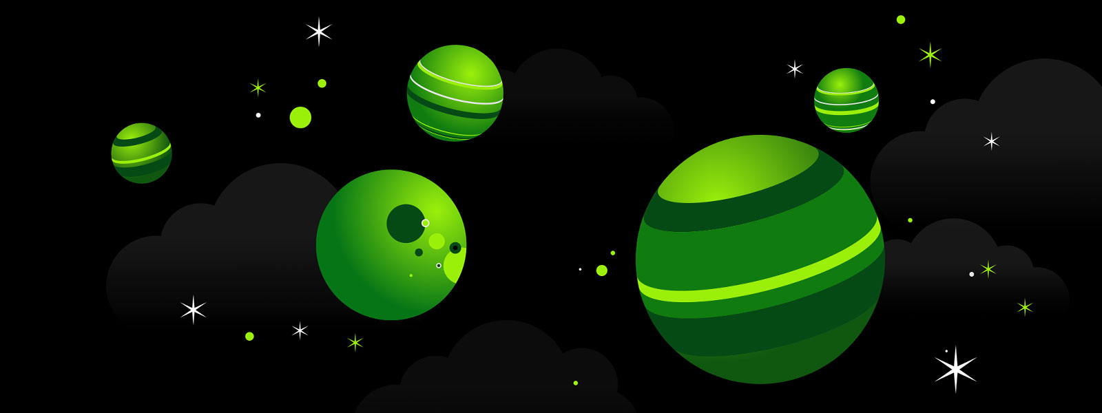 Xbox green planets and moons in a starry scene.