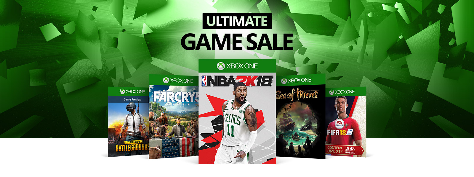 Ultimate Game Sale logo above PlayerUnknown Battlegrounds Farcry 5 NBA 2k18 Sea of Thieves FIFA 18 boxshots