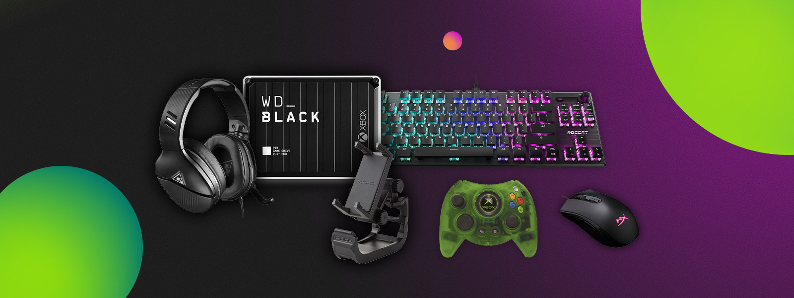 A collection of gaming accessories, including a keyboard, a gaming headset, and an Xbox controller.