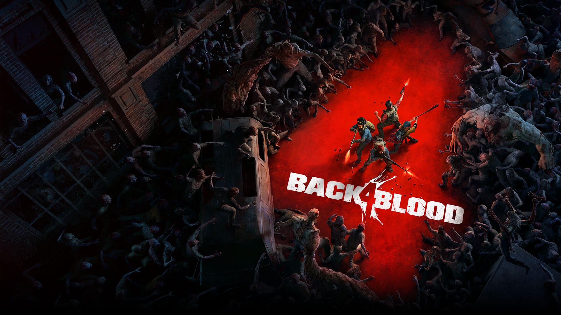 Back 4 Blood, A horde of zombies in the shape of a number 4 surrounds a group of characters.