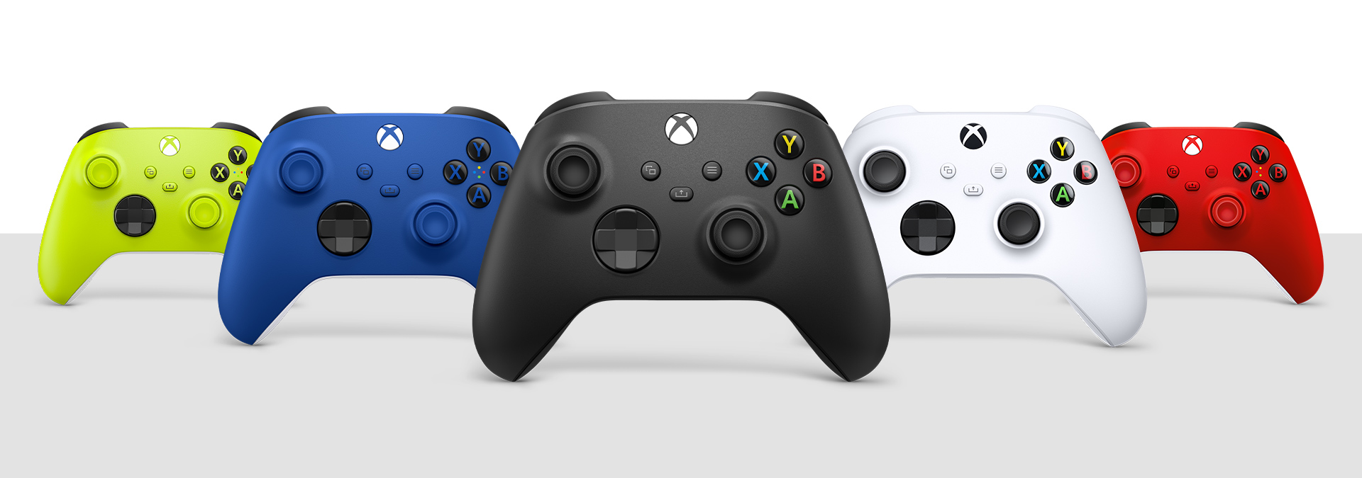 Xbox draadloze controller carbon black, robot white, shock blue, pulse red en electric volt