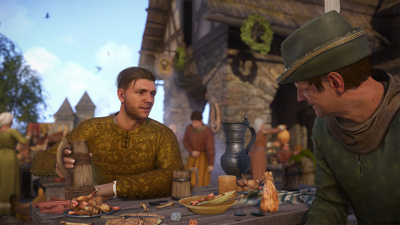 Character sitting at a table holds a cup of mead outside.