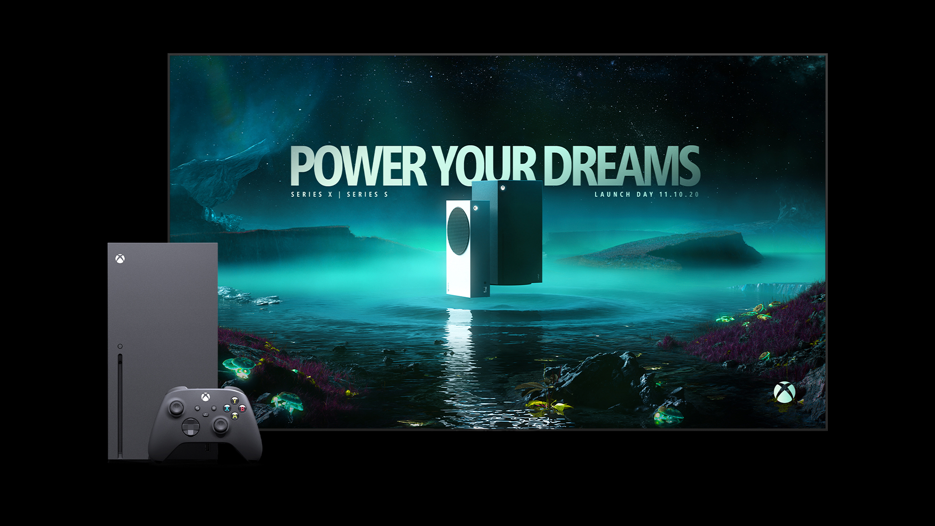 An Xbox Series X in front of a screen displaying the Launch Day key visual