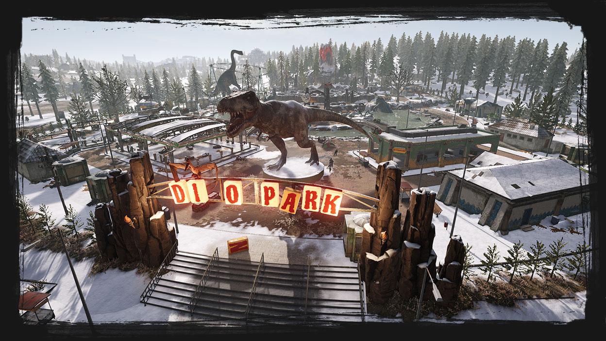 A snow-covered Dinosaur themed Park.