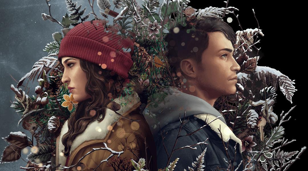 在 Tell Me Why 灰色的冰封背景前,雙胞胎男女主角面對面,被白雪覆蓋的植物包圍