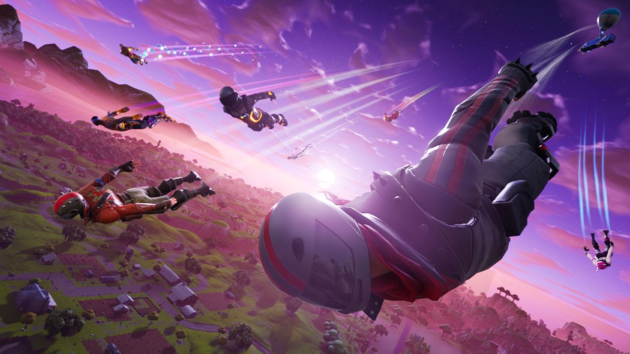 Vários personagens voando do céu, sobre uma cidade