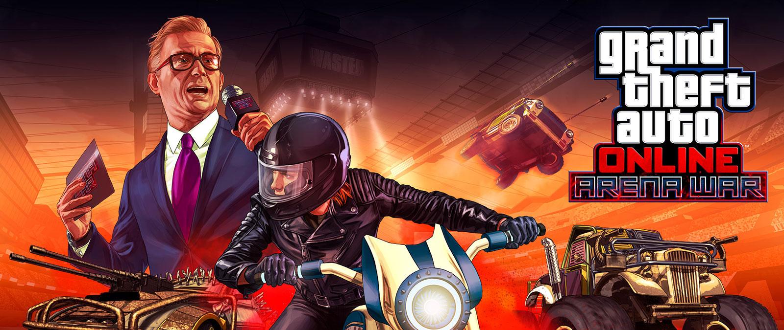 Grand Theft Auto Online Arena Wars, varios vehículos con armas montadas y un presentador de fondo.