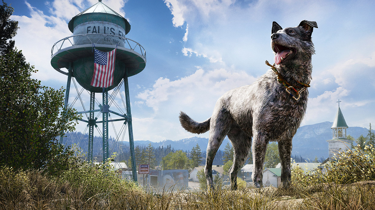 A dog named Boomer stands next to the Fall's End water tower