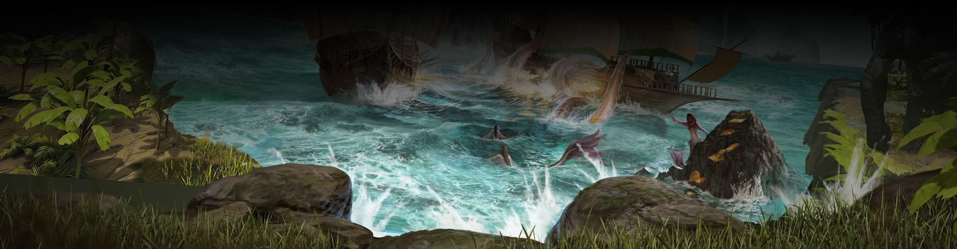 Un rivage, 3navires et une sirène dans une crique rocheuse