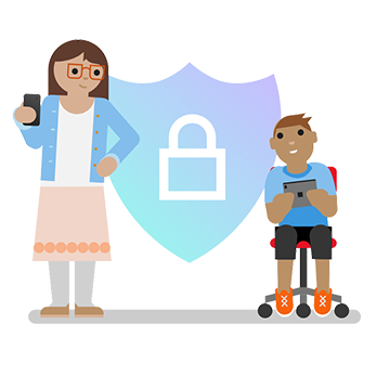 Illustration of a mom looking at her son playing video games with a background showing a lock