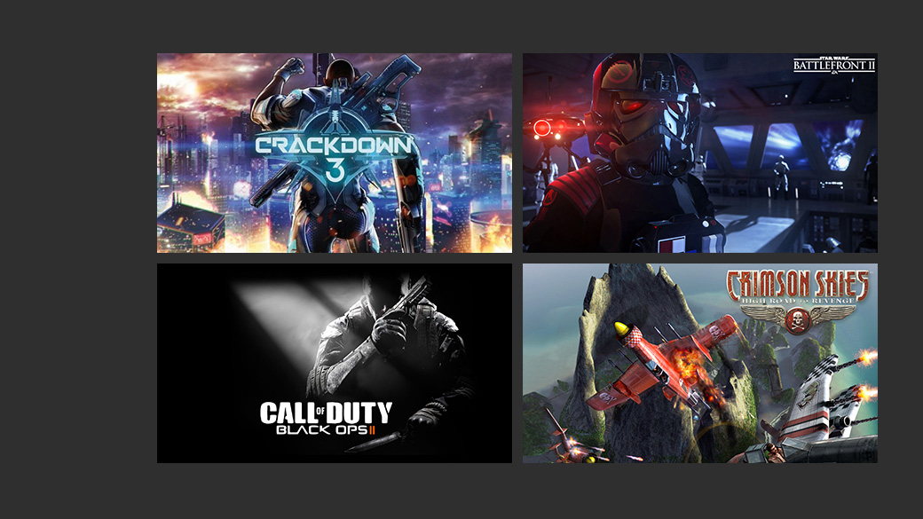 Collage van Crackdown 3, Star Wars Battlefront 2, Call of Duty Black ops 2 en Crimson Skies