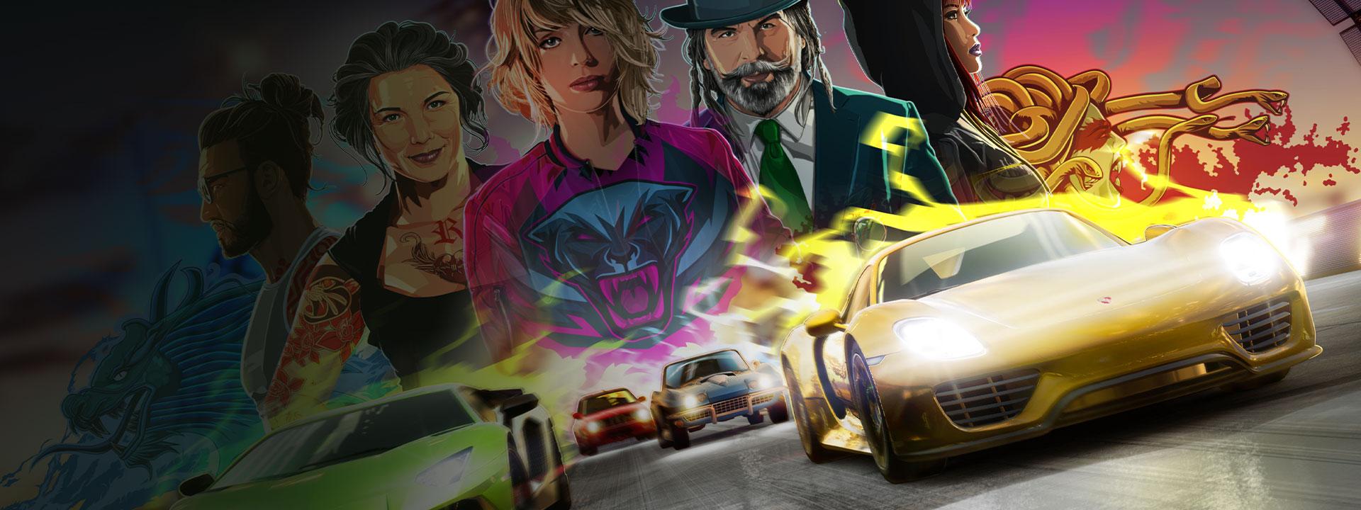 滑らかな道、女性と男性のキャラクターの背景にレースの複数の車の正面図