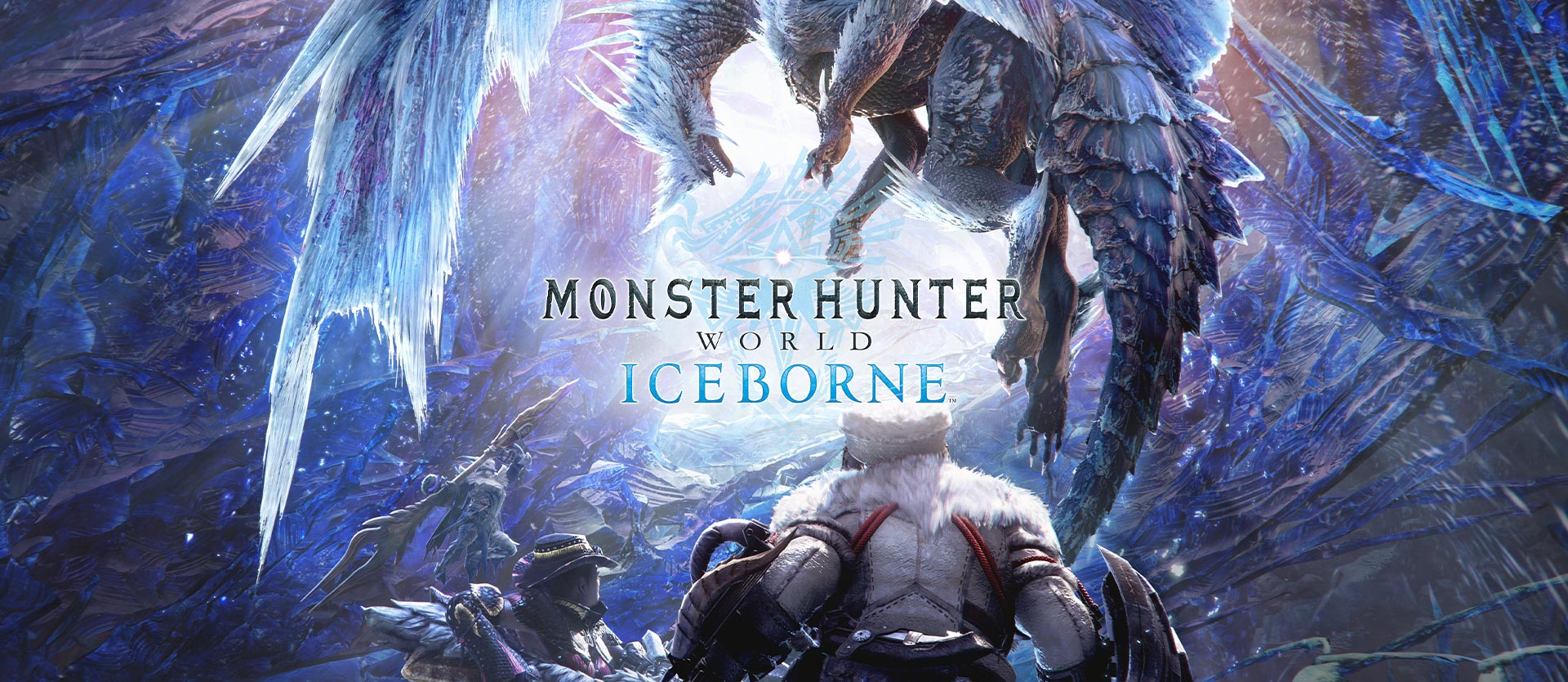 Monster Hunter World - Chasseurs de monstres faisant face à un dragon de glace entouré d'immenses cristaux