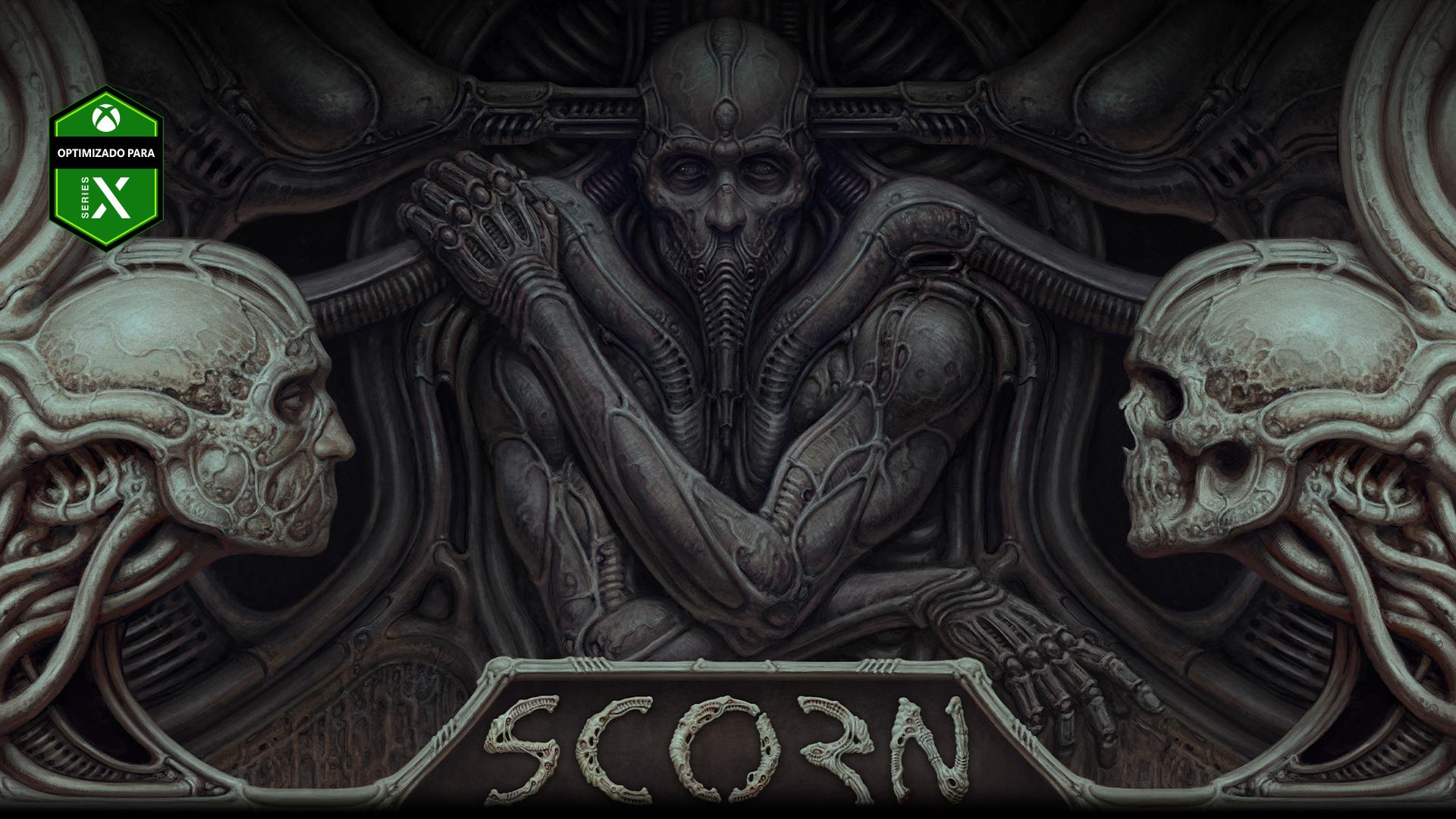 Personaje de Scorn incrustado en una pared con dos calaveras a los lados.