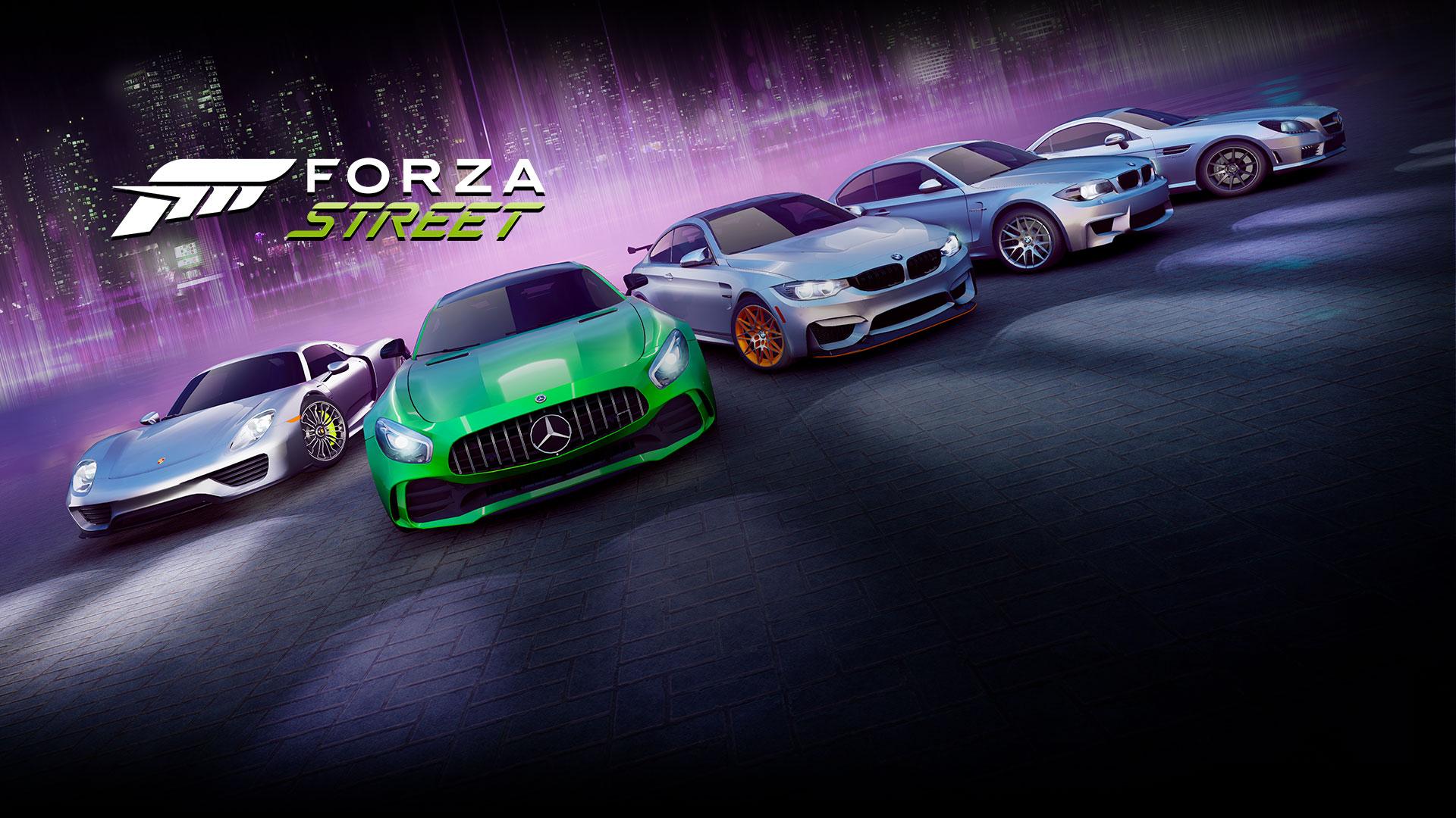 Forza Street, mit einer Reihe legendärer Autos im Hintergrund